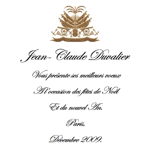 Jean-Claude Duvalier sends Haiti Christmas wishes