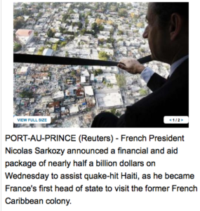 Sarkozy visits Haiti, unveils major aid package