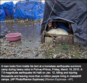 Heavy rains swamp camps holding Haiti's homeless