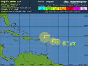 Tropical Storm EARL Is Building Strength And Heading For Haiti