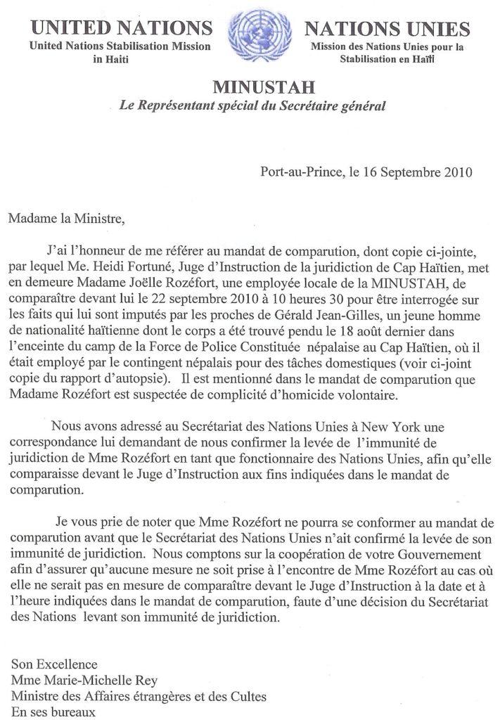 Nous publions pour l'histoire et pour la vérité, la lettre que Edmond Mullet, le Représentant Permanent du Secrétaire Général des Nations Unies, a adressée à la Ministre des Affaires Étrangères et dont copie nous a été expédiée par une source au Ministère de la Justice.