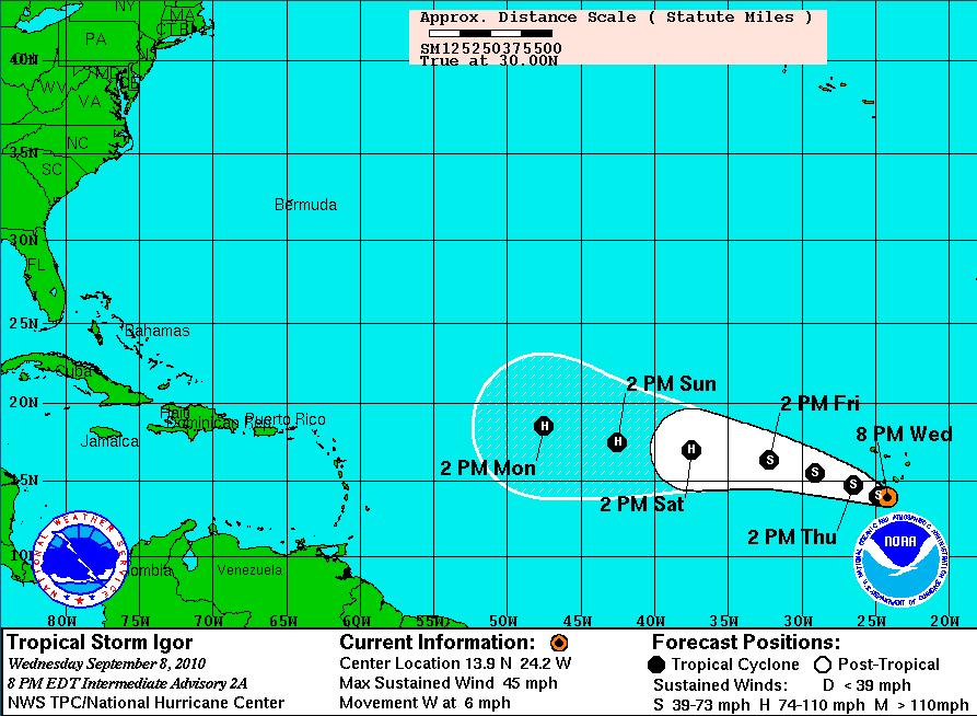 Tropical Storm IGOR Closes in on Haiti