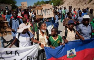 Protesters blame UN base for cholera in Haiti