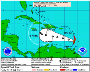 Hurricane Tomas might put Haiti under the gun