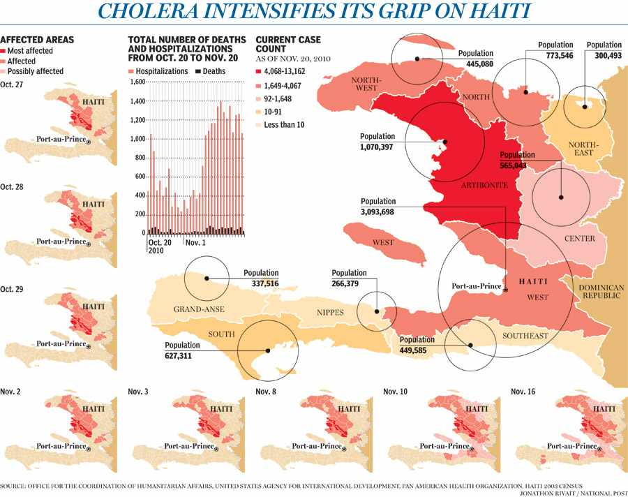 Graphic: The spread of cholera in Haiti-National Post
