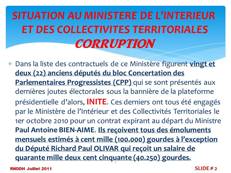 Situation au Ministere de l'Interieur et des Collectivites CORRUPTION