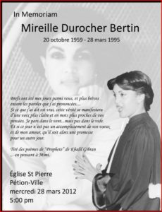 To Mireille Durocher Bertin. ( The killing of a great lady and obstruction of Justice by Bill Clinton ! ) The American people should know