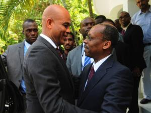 Haiti's Martelly meets with ex-president Aristide