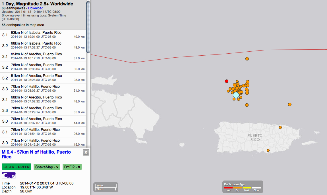 Of the 68 earthquakes worldwide in the past 24 hours, 55 have been on the North coast of Puerto Rico