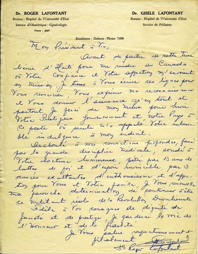 Une note de Roger Lafontant a retenir pour l'Histoire !