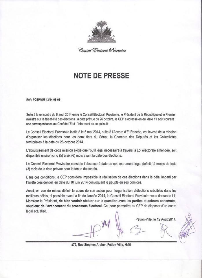 Note du CEP en date du 12 Aout: Pas d'élections le 26 Octobre