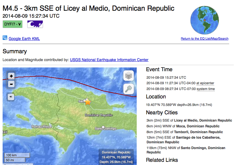 Magnitude 4.5 Earthquake- 3km SSE of Licey al Medio, Dominican Republic