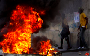 AN AGGRESSIVE 500 MARCH IN FRIDAY DEMONSTRATION – BURNING TIRES, THROWING ROCKS.