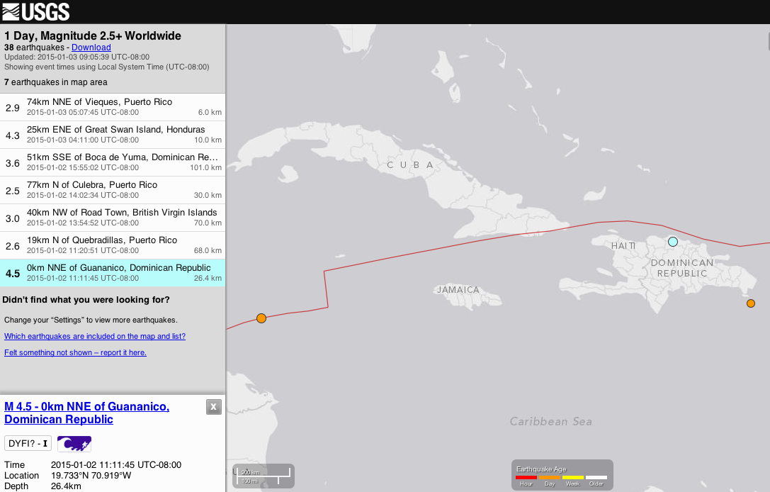 M 4.5 – 0km NNE of Guananico, Dominican Republic
