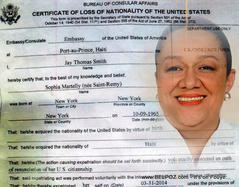 SOPHIA MARTELLY STILL AN AMERICAN CITIZEN SINCE IRS – INTERNAL REVENUE SERVICE – HAS NOT CLEARED HER OF POTENTIAL CLAIMS – SORT OF LIKE A PERSONAL HAITIAN DISCHARGE