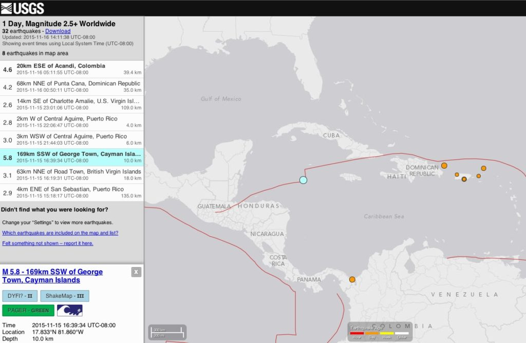 5.8 Quake, West of Cayman Island area- No damages