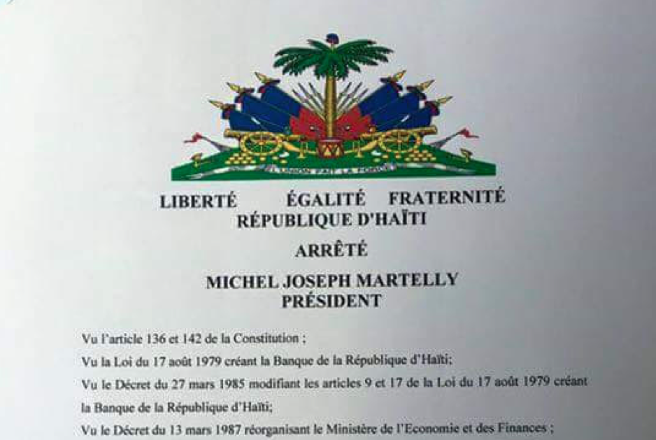 A letter from Martelly