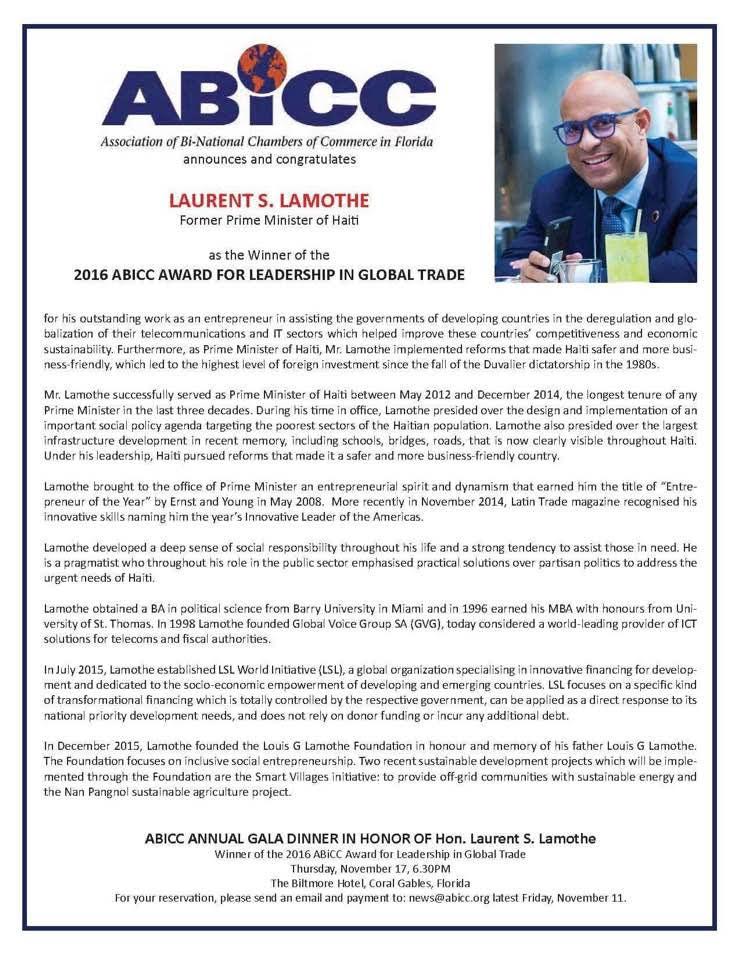 Laurent Lamothe reçoit le prix ABICC 2016 pour le leadership dans le commerce mondial