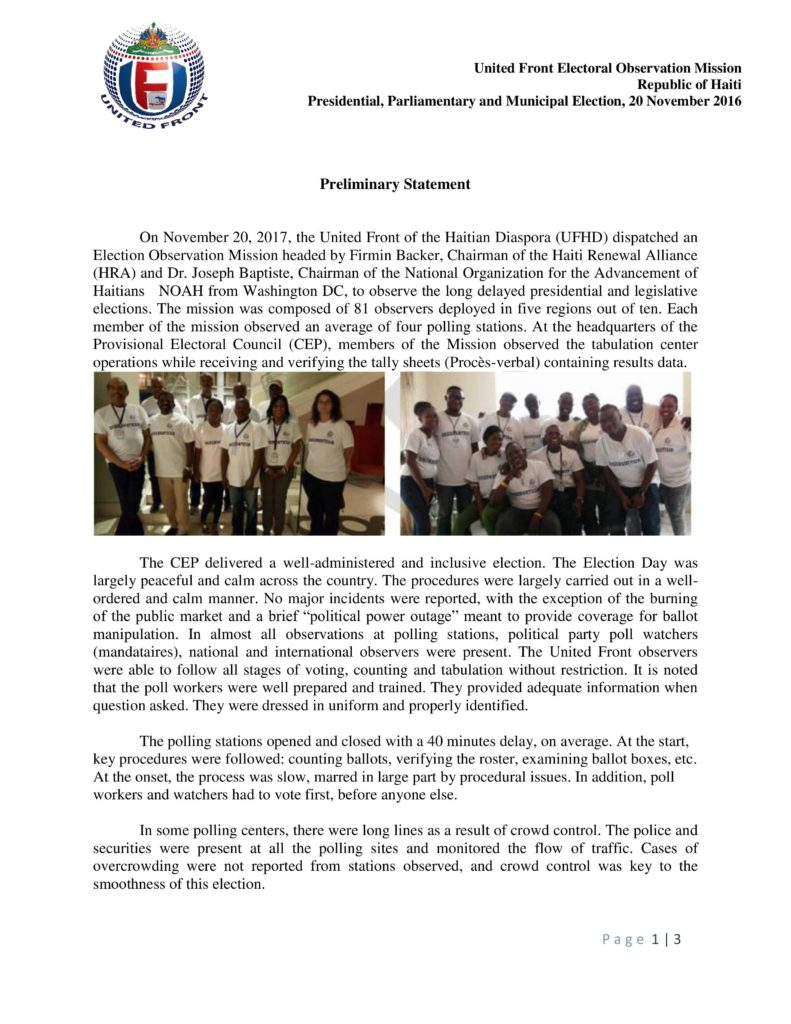 FOREIGN OBSERVERS VALIDATE ELECTORAL PROCESS
