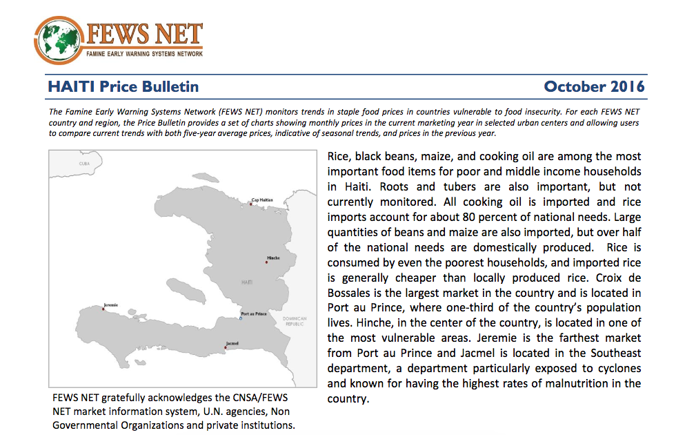 Haiti: Price bulletin, October 2016