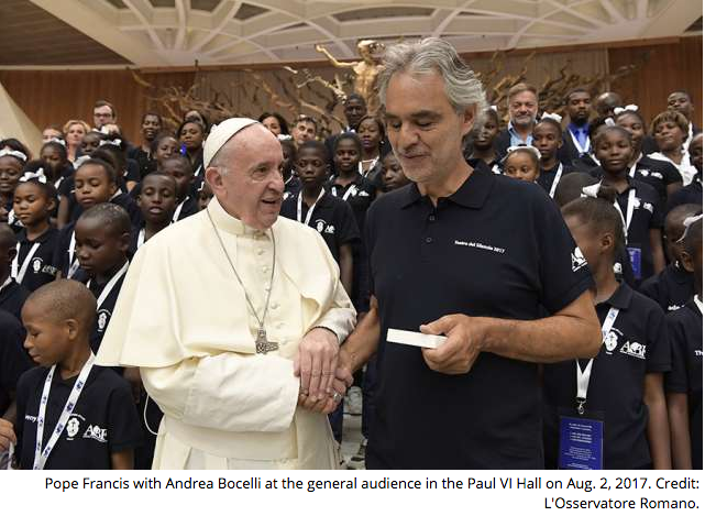 Haitian children, Andrea Bocelli sing for Pope Francis