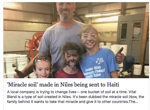 'Miracle soil' mixed in Niles being sent to help Haiti