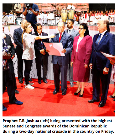 Dominican Republic: TB Joshua bags highest Senate, Congress awards