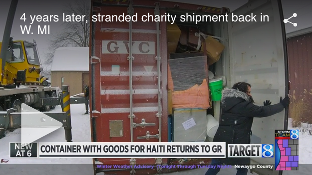4 years later, stranded charity shipment back in W. MI