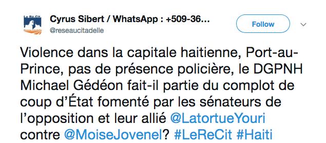 Violence dans la capitale haitienne, Port-au-Prince, pas de présence policière, le DGPNH Michael Gédéon fait-il partie du complot de coup d'État fomenté par les sénateurs de l'opposition et leur allié @LatortueYouri contre @MoiseJovenel? #LeReCit #Haiti