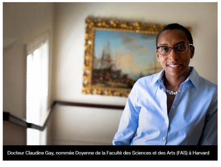 Claudine Gay, Haïtienne d'origine, nommée Doyenne à Harvard